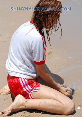 Wetlook in Red Adidas nylon shorts and white t-shirt