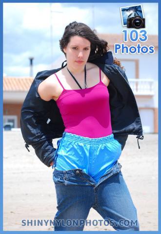 Light Blue adidas nylon shorts under jeans