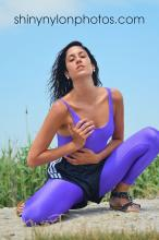 PHOTOSET 274 | Black adidas nylon shorts and purple lycra/spandex body