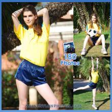 Shiny nylon darkblue shorts and yellow t-shirt