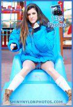 Shiny nylon blue down jacket