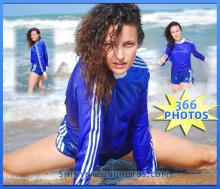 Wetlook Blue nylon Sprinter shorts and blue soccer t-shirt.