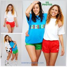 Red and Green Adidas nylon shorts