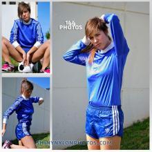 Blue nylon Sprinter shorts and blue nylon t-shirt.